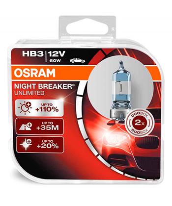 Osram HB3 Night Breaker Unlimited (+110%) (2ÑÑ.) 9005NBU-DUOBOX