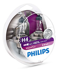 Набор галогенных ламп (2 шт.) Philips H4 (P43t) Vision Plus (+60% света) 12342VPS2
