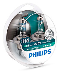 Philips H4 (P43t) X-treme Vision (+130%) (2 шт.) 12342XV+S2