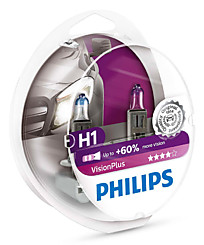 Набор галогенных ламп (2 шт.) Philips H1 (P14,5s) Vision Plus ( +60% света) 12258VPS2