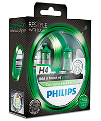 Philips H4 (P43t) ColorVision зеленый (2 шт.) 12342CVPGS2
