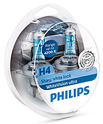 Philips H4 White Vision Ultra +W5W (+60%) (2 шт.) 12342WVUSM
