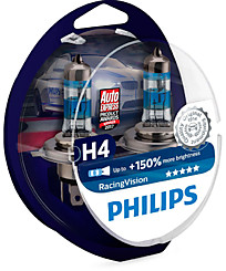 Philips H4 Racing Vision (+150%) (2 шт.) 12342RVS2